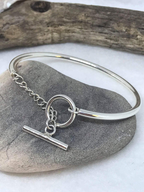 Sterling Silver Toggle Clasp Bangle