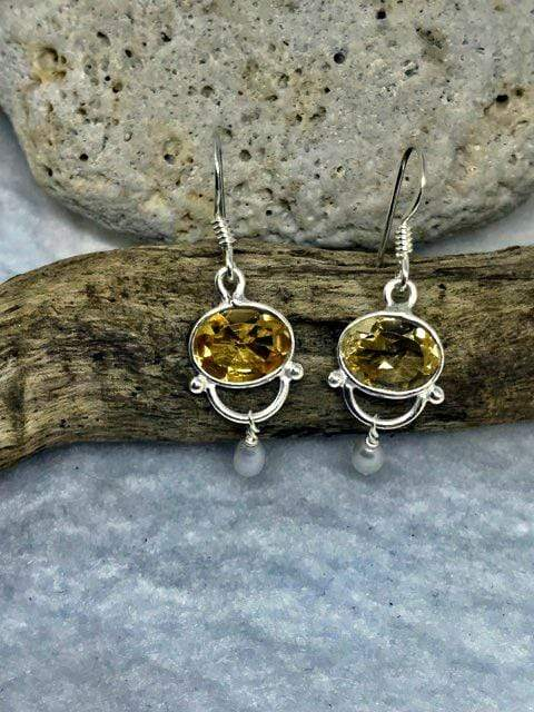 Citrine and Pearl elegant earrings