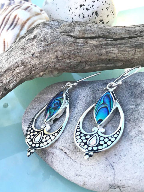 beautiful paua shell in sterling silver earrings
