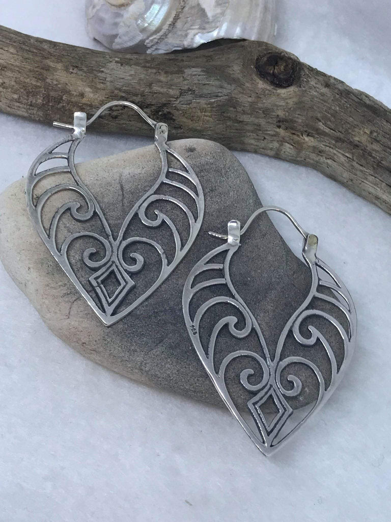Handcrafted Sterling Silver Earrings leaf design