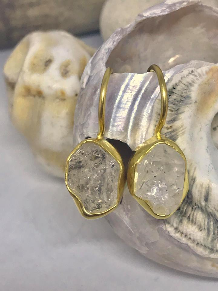 Gold Herkimer Diamond Earrings