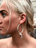 sterling silver hoop earrings with tassels and pearls