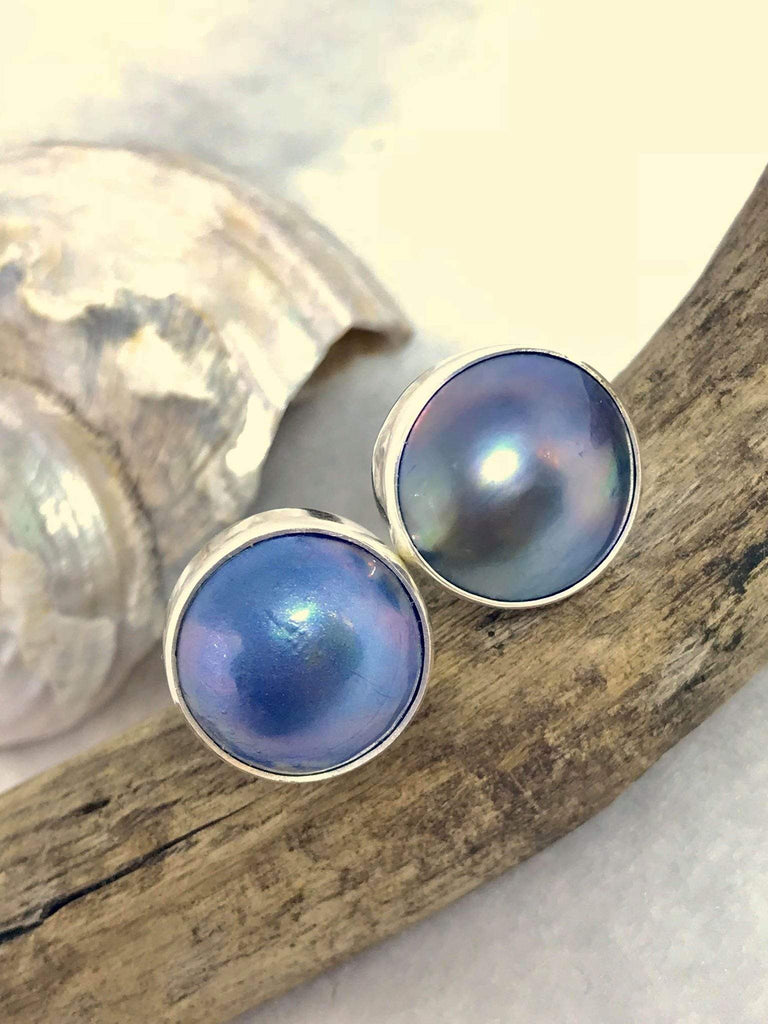 Under The Sun Blue Pearl Studs