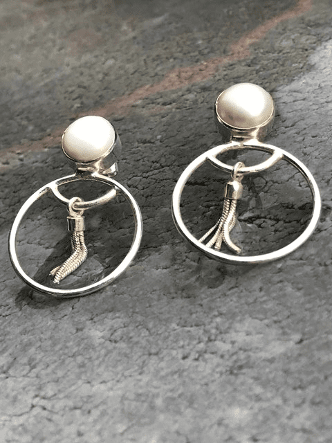 Sterling silver hoops with pearls and tassels