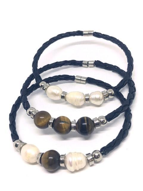 Tigers Eye and pearls on leather bracelets make a prefect gift for Mum