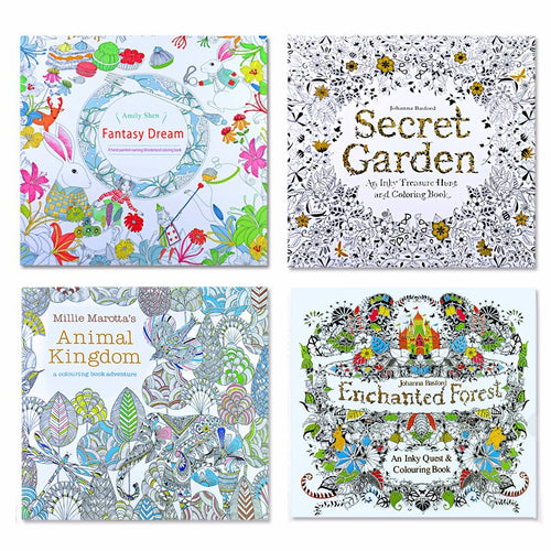 Adult Coloring Books Set Of 4 Animal Kingdom Enchanted Forest Fantasy Dream