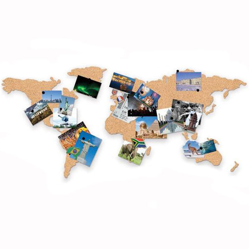 World Map Cork Board- Vision board message board travel photos ...