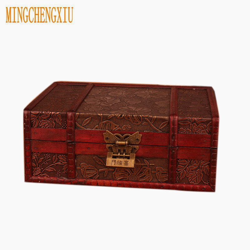 Top Large Antiqued Wooden Box with Lock, 4 Designs to Choose From  AB76