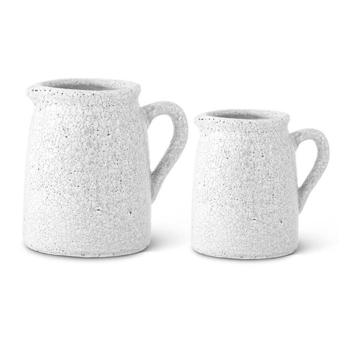 White Crackle Glazed Terracotta Pitchers