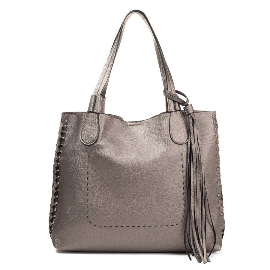 J1726A Whipstitch Two in One Monogrammable Tassel Tote