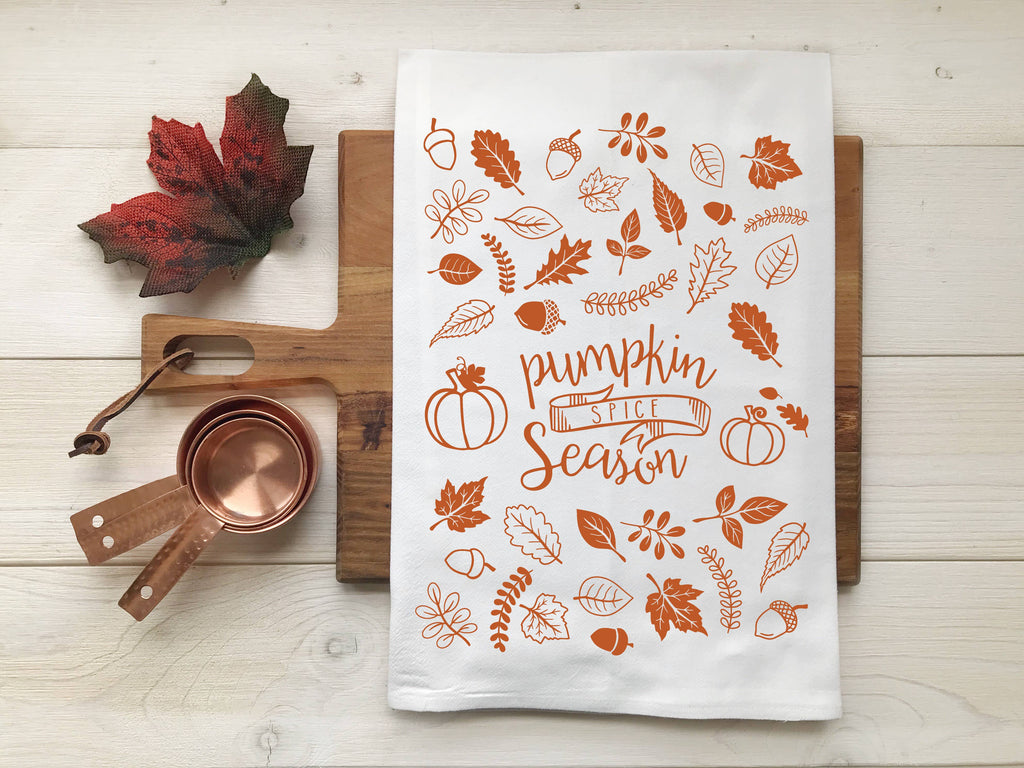 Pumpkin Spice Fall Leaf Tea Towel