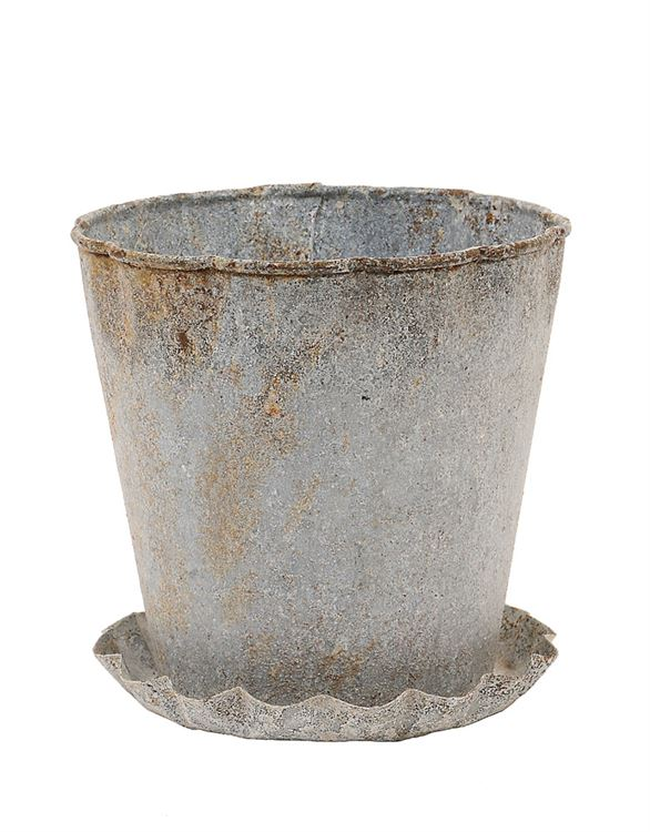 "5"" Rnd x 5""H Metal Pot w/ Pleated Saucer, Distressed Zinc Fin"