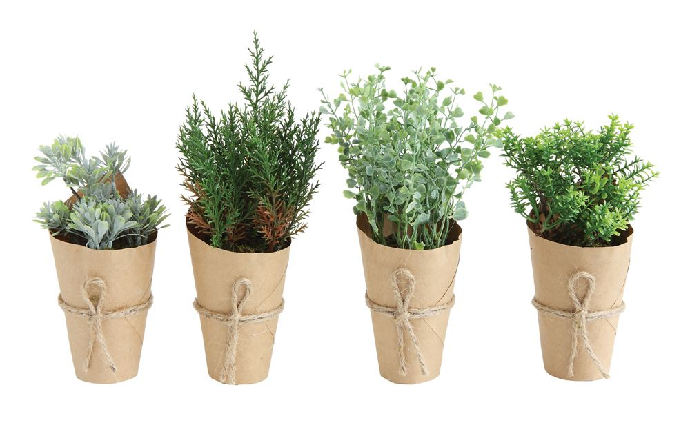 "7-1/2""-9-1/2""H Artificial Plant In Paper Wrapped Pot"