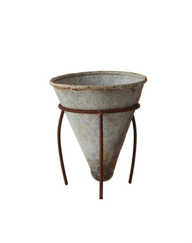 Metal Cone Flower Pot w/ Metal Stand, Distressed