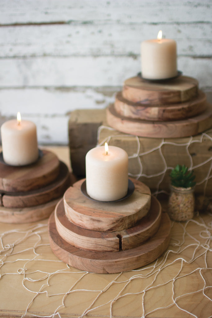 Three Tiered Wood Candle Holder