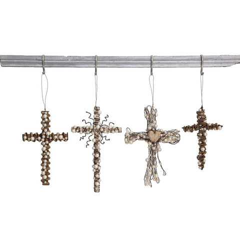 "8"" - 6""H Metal Wire Cross w/ Beads Decoration"