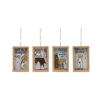 Paper Box Ornament w/ Nativity Scene