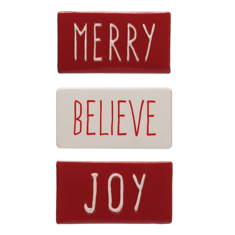 Metal Wall Decor w/ Saying, Red & White