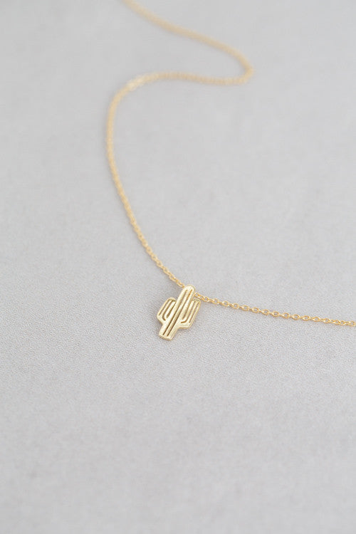 Delicate Cactus Necklace- gold or silver