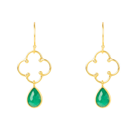 Latelita London Open Clover Gemstone Drop Earring Gold Green Onyx
