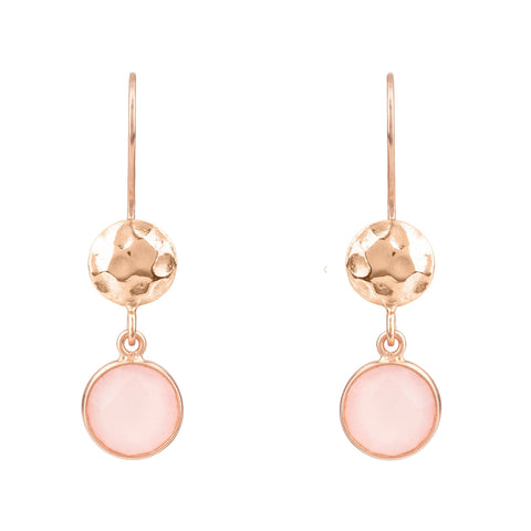 Latelita London Circle & Hammer Earrings Pink Rosegold Rose Quartz