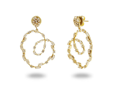 Fronay Collection Sparkling CZ Spirals Gold Earrings