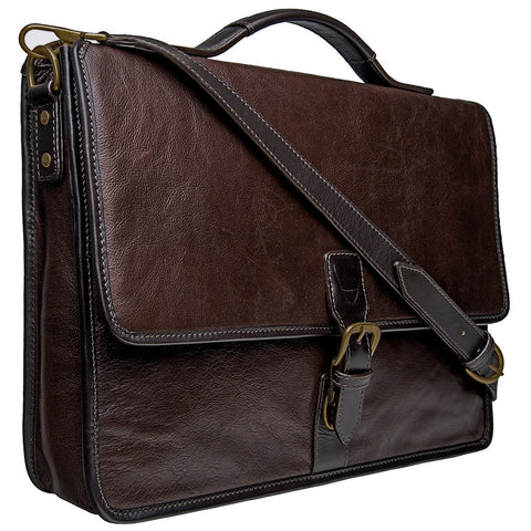 Hidesign Harrison Buffalo Leather Laptop Briefcase Brown