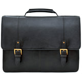 "Hidesign Charles Large Double Gusset Leather 17"" Laptop Compatible Briefcase Work Bag Black"