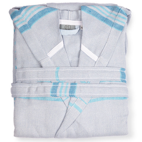 Hilana Upcycled Eco-Friendly Turkish Cotton Bathrobe Turquoise Blue
