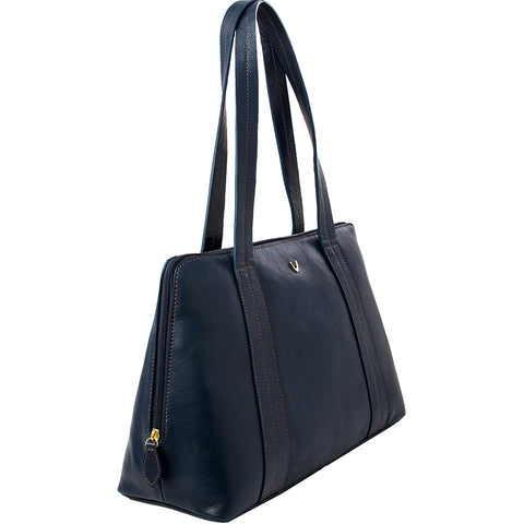 Hidesign Cerys Leather Multi-Compartment Tote Shoulder Bag Blue