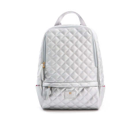 Gunas New York Vegan Leather Cougar Quilted Backpack Silver