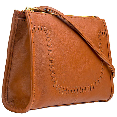 Hidesign Mina Leather Cross body Bag Tan
