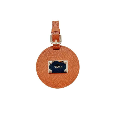 Engraved Personalised Leather Luggage Tag Cocoa Brown