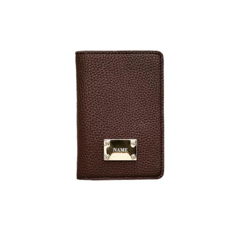 Engraved Personalised Passport Holder Brown