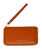 Laconic Style Trouvaille zip Pebbled Leather Smartphone Wristlet & Crossbody Wallet Tan