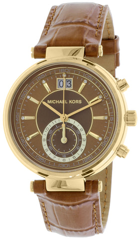 Michael Kors Women's Sawyer MK2424 Brown Leather Quartz Fashion Watch