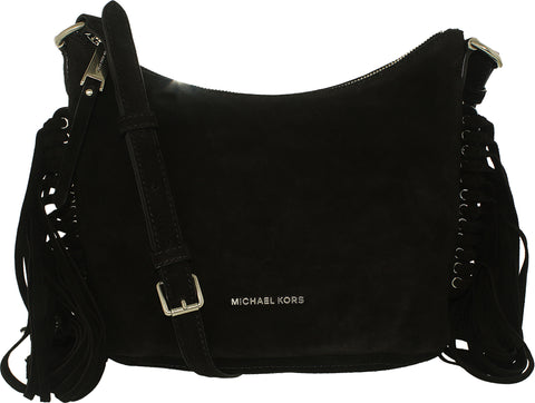 Michael Kors Women's Medium Billy Suede Messenger Bag Leather Cross-Body Tote - Black