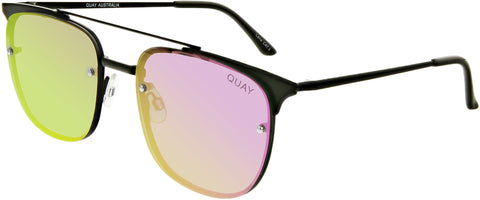 Quay Women's Mirrored Private Eyes QW-000175-BLK/PURP Black Square Sunglasses