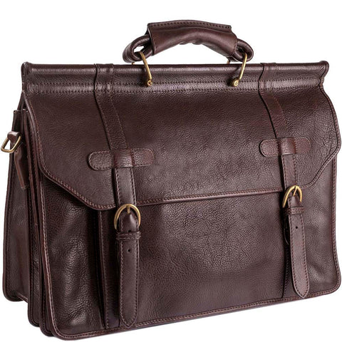 Hidesign Roma Leather Laptop Briefcase Brown