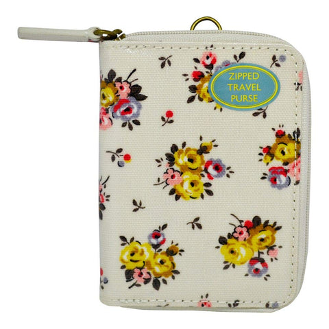 Cath Kidston Women's Zipped Travel Purse Wallet with D-ring Oc Victoria Rose Ivory 517225