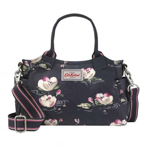 Cath Kidston Mini Day Shoulder Bag Crossbody Strap Waterlilies Graphite Grey