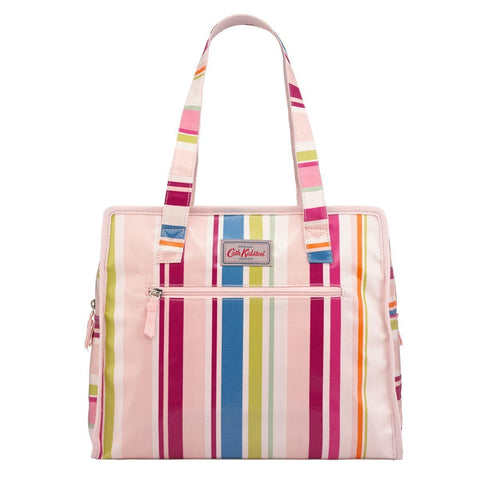 Cath Kidston Women's Large Pandora Shoulder bag Zipped Closure Guernsey Stripe Pink