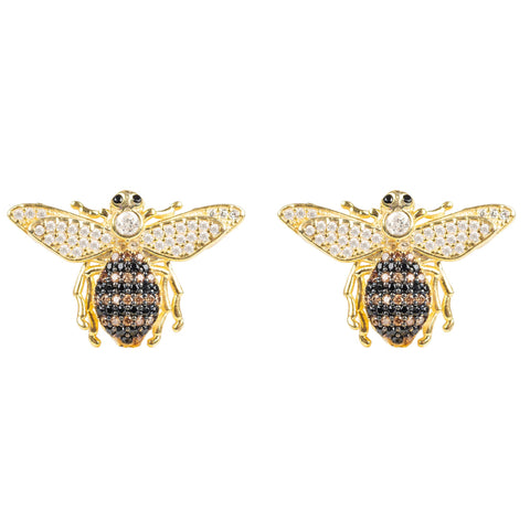 Latelita London Honey Bee Stud Earrings Gold