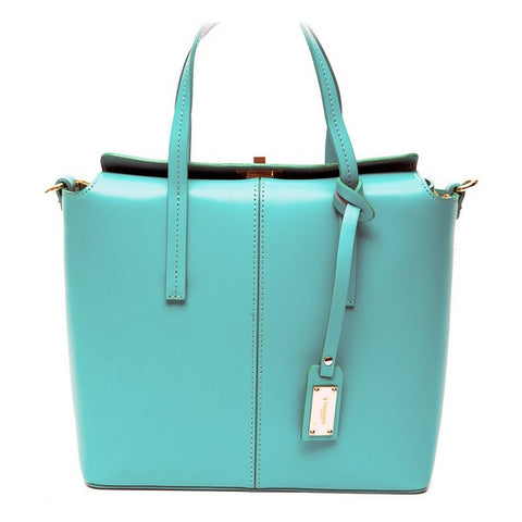 Trussardi Leather Turquoise Satchel Shoulder Bag