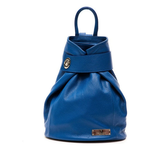 Trussardi Leather Blue Backpack