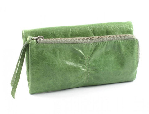 PRATTEN Leather Pleated Wallet - Lime