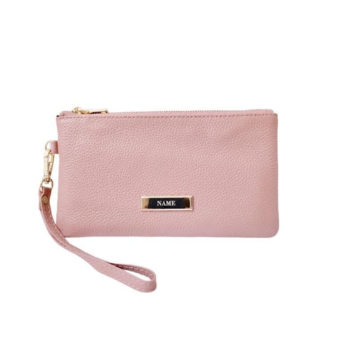 Engraved Personalised Leather Wristlet Pouch Wallet Taupe Pink