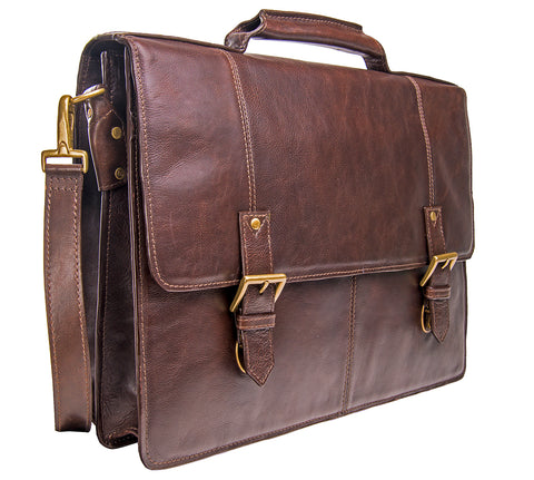 "Hidesign Charles Large Double Gusset Leather 17"" Laptop Compatible Briefcase Work Bag Brown"