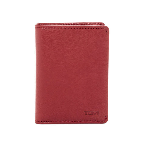 Tumi  Chambers Gusseted Leather Card Case Crimson Red