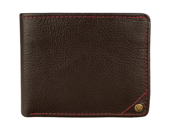 Hidesign Angle Stitch Leather Slim Bifold Wallet Brown